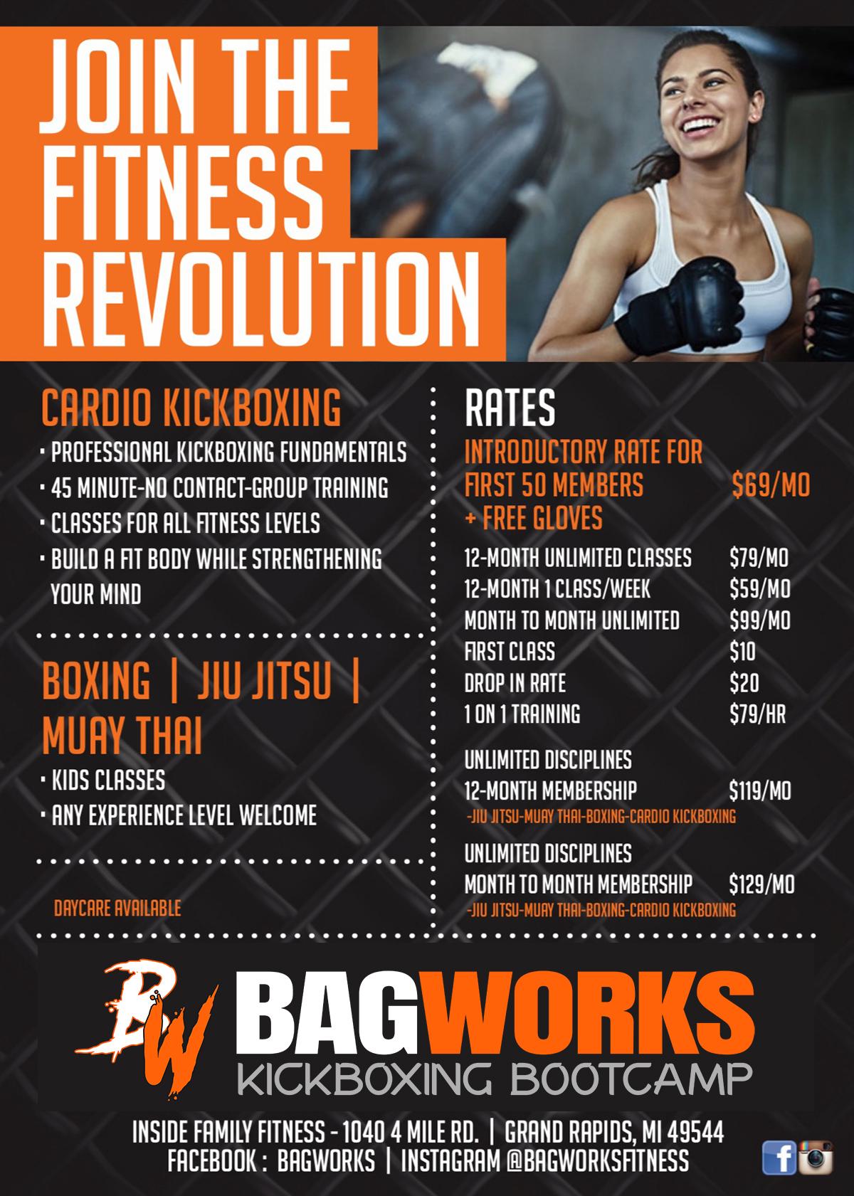 Bagworks Kickboxing Bootcamp Membership Pricing Menu