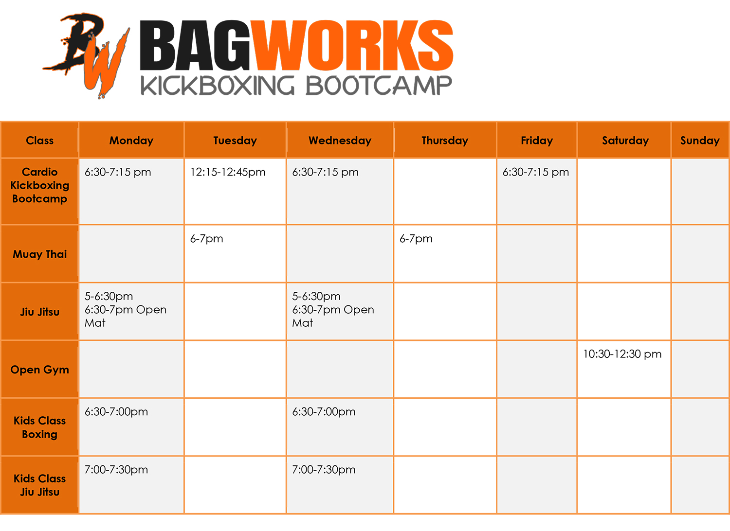 Bagworks Kickboxing Bootcamp Class Schedule